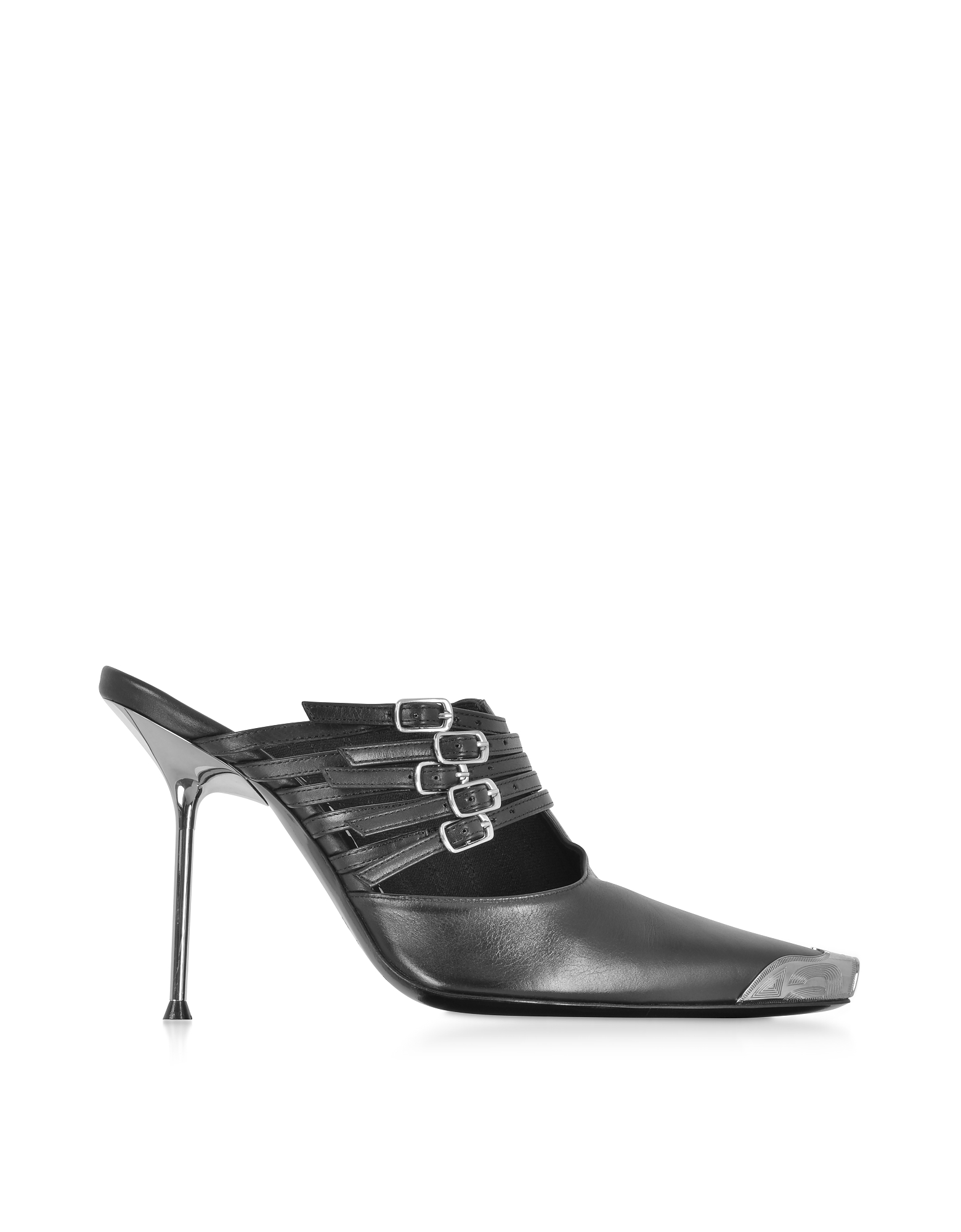 Alexander Wang Shoes, Minna Black Calf Leather High Heel Mules