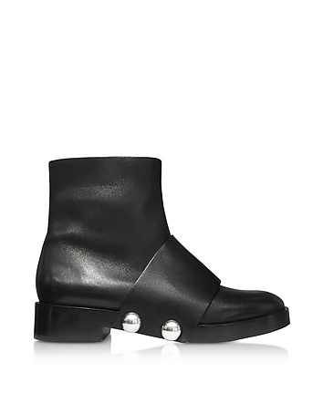 Hanne Black Leather Ankle Boot