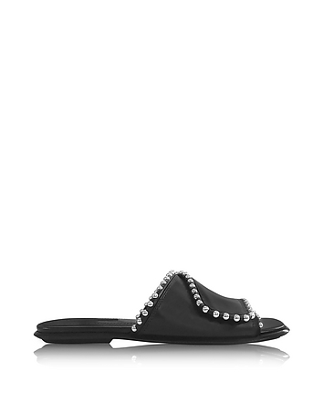 Alexander Wang - Leidy Black Leather Slide Sandal