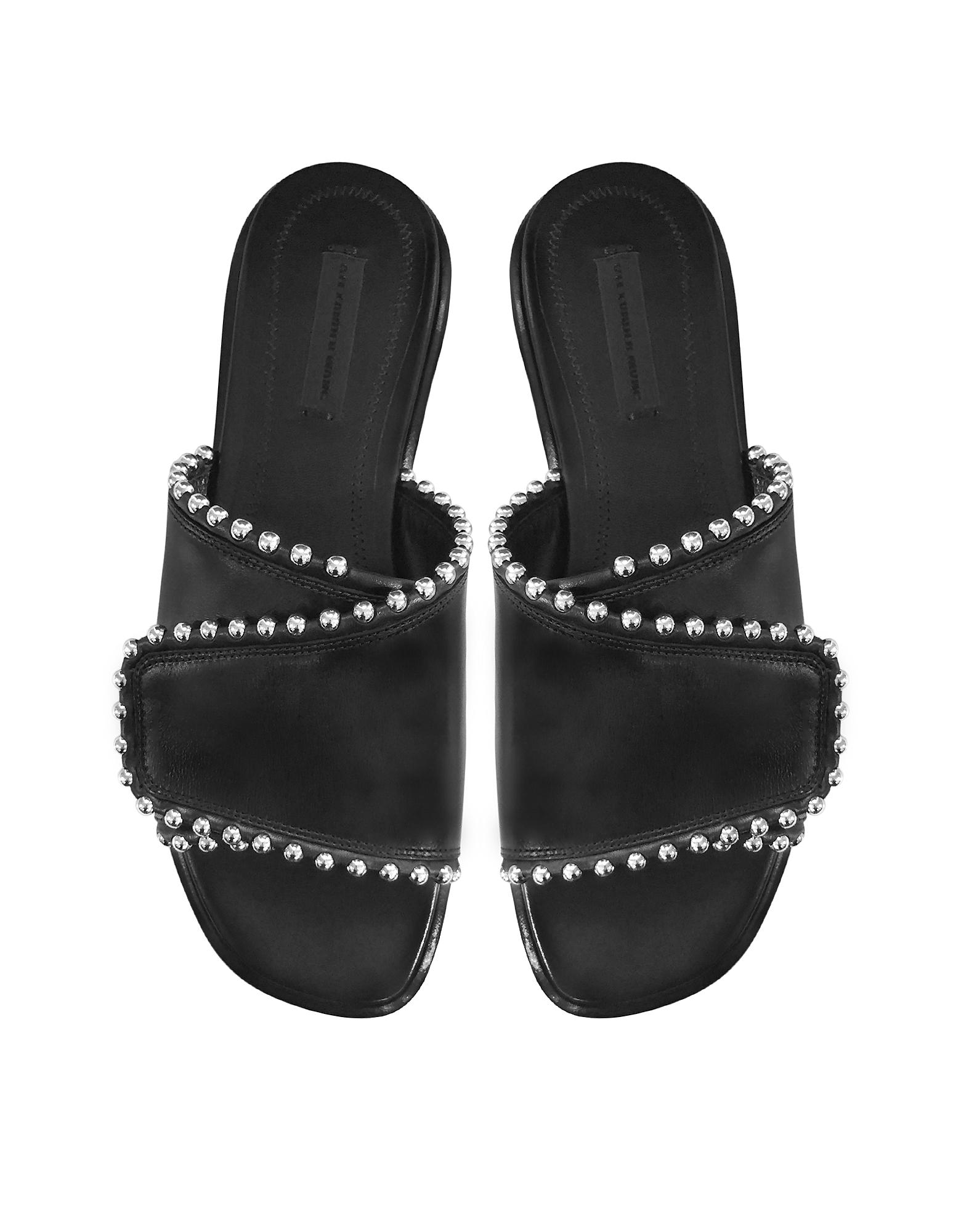 Leidy Black Leather Slide Sandal от Forzieri.com INT
