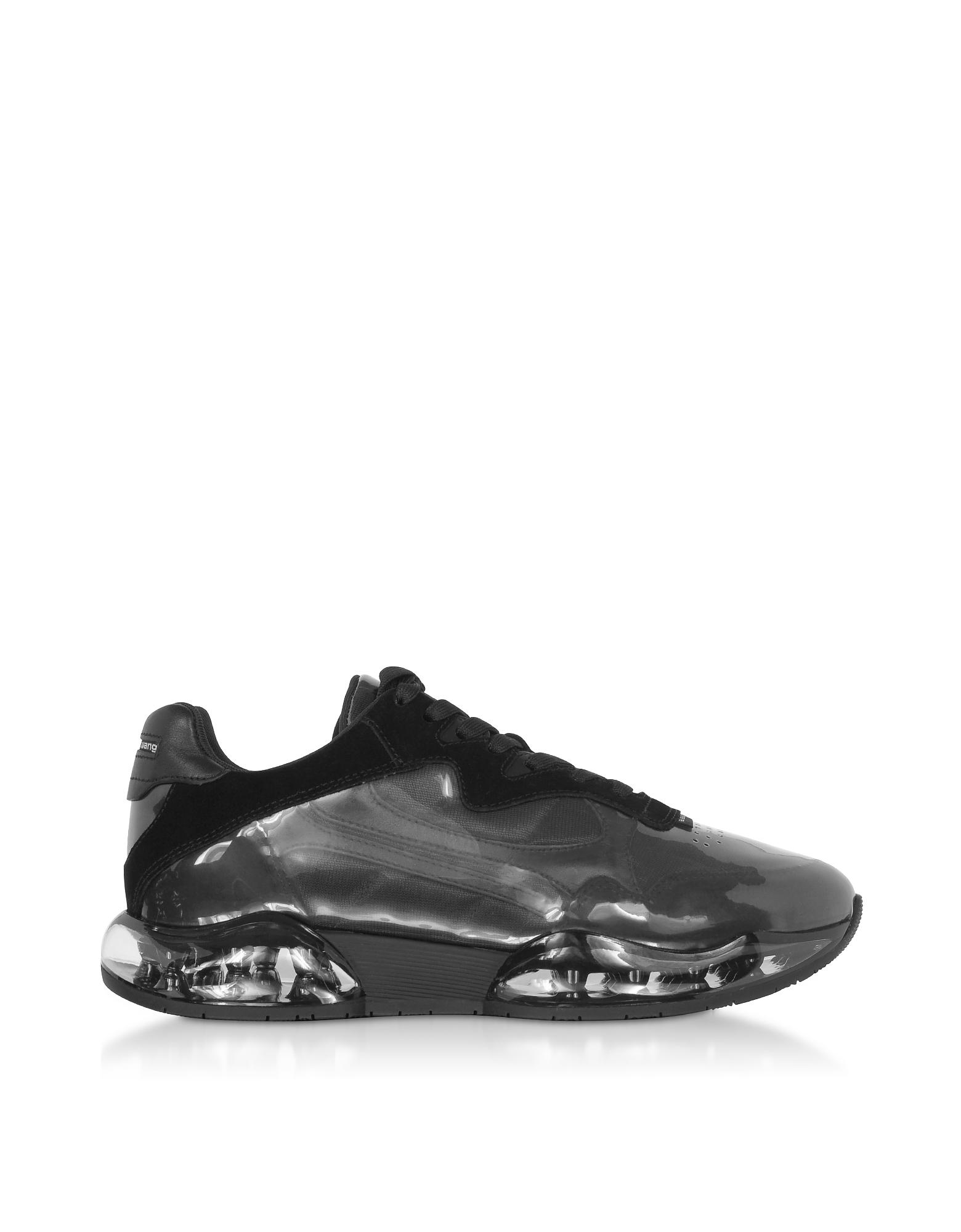 Black Suede&Mesh Stadium Sneakers