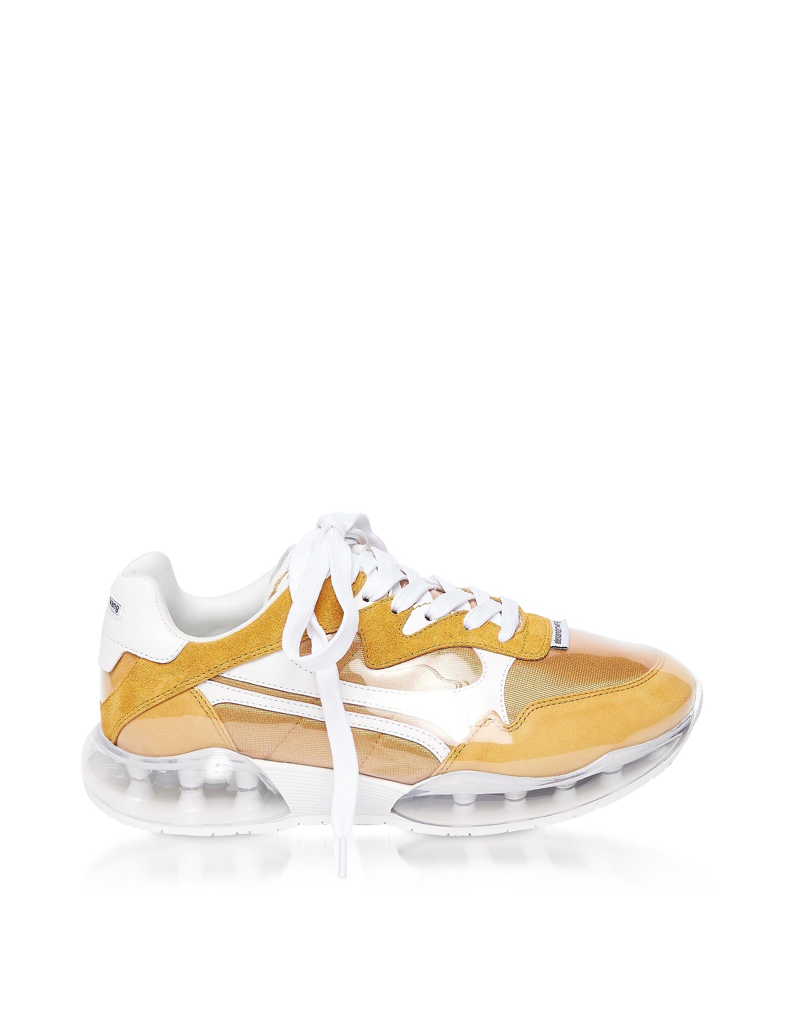 Alexander Wang Designer Shoes, Mineral Yellow Suede & Mesh Stadium Sneakers