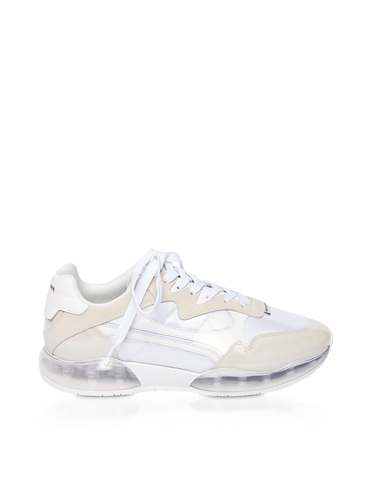 Alexander Wang Designer Shoes, White Suede & Mesh Stadium Sneakers