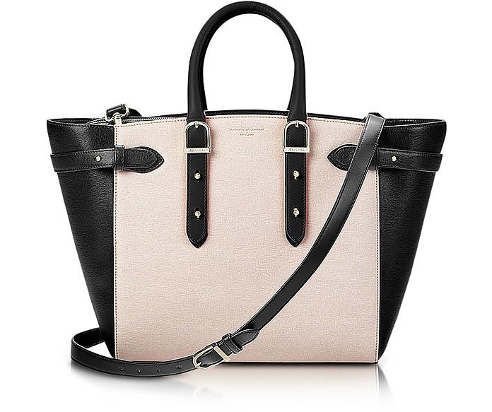 Marylebone Monochrome Mix Medium Tote Bag w/Changeable Handles - Aspinal of London