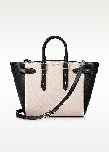 Marylebone Monochrome Mix Medium Tote Bag w/Changeable Handles - Aspinal of London