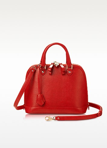 Hepburn Mini Berry Lizard Embossed Bowler Bag - Aspinal of London
