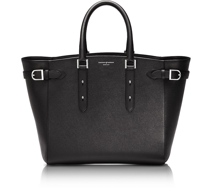 Marylebone Tote in Black/Silver Pebble - Aspinal of London