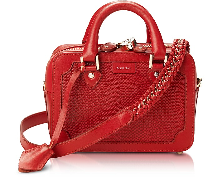 Lizard Embossed Mini Sofia Bag in Berry - Aspinal of London