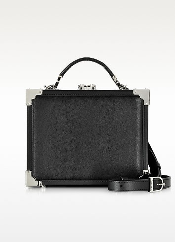 Black Saffiano Leather Trunk Clutch - Aspinal of London
