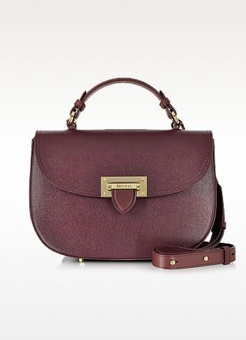 Burgundy Saffiano Leather Letterbox Saddle Bag - Aspinal of London