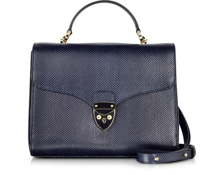 Midnight Blue Lizard Print Leather Mayfair Bag - Aspinal of London