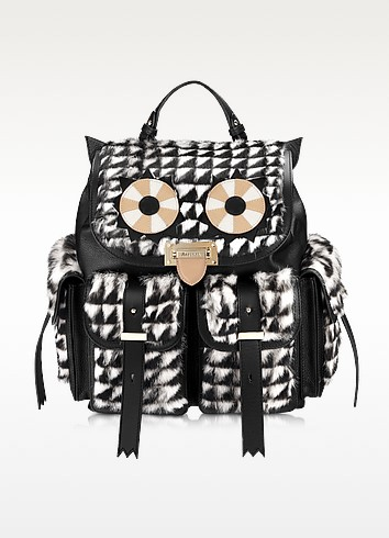 Letterbox Geometric Fur Owl Rucksack - Aspinal of London