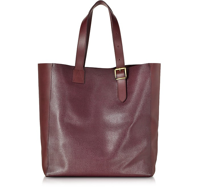 A Tote Burgundy Saffiano Leather Bag - Aspinal of London