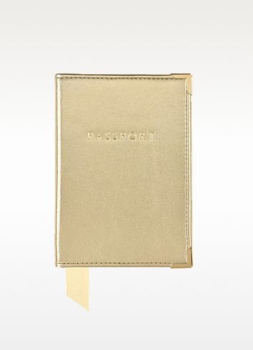 Metallic Leather Plain Passport Cover - Aspinal of London