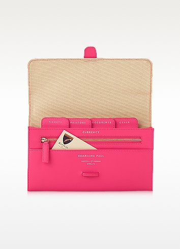 Neon Pink Classic Travel Wallet - Aspinal of London