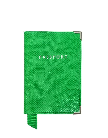 Foto Aspinal of London Porta Passaporto in Pelle Lizard Verde Prato Borse donna