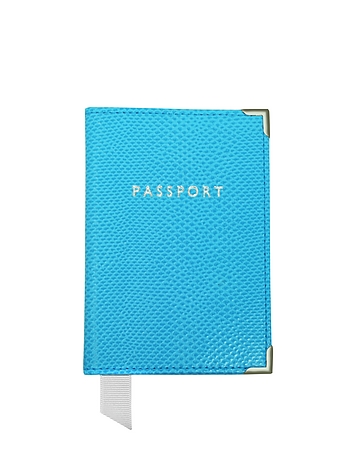 Aspinal of London - Aquamarine Lizard Passport Cover