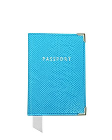 Aquamarine Lizard Passport Cover  - Aspinal of London