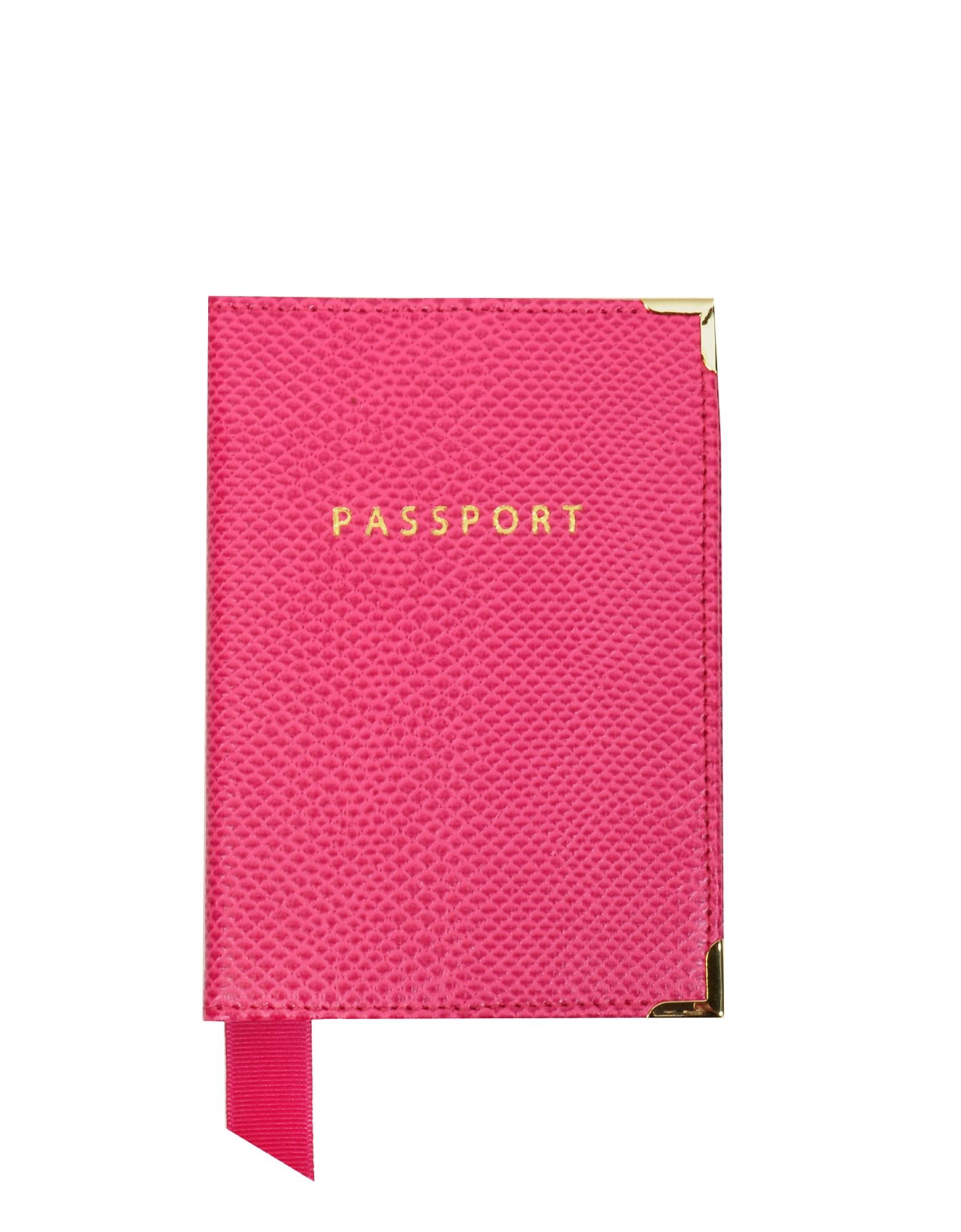 Aspinal of London Малиновая Обложка на Паспорт из Кожи Теленка