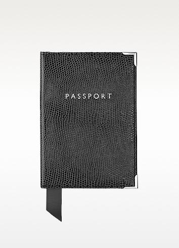 Lizard Print Plain Passport Cover  - Aspinal of London