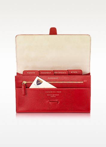 Lizard and Suede Classic Travel Wallet - Aspinal of London