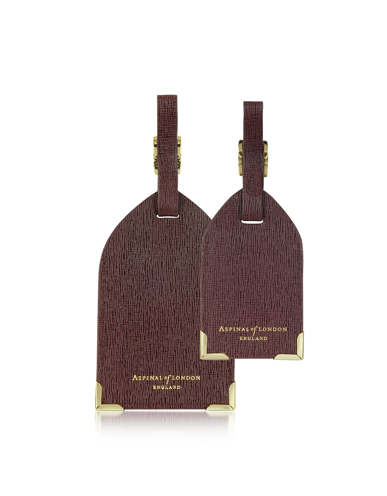 Aspinal of London Designer Handbags,  Set of 2 Burgundy Saffiano Luggage Tags