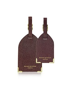 Set of 2 Burgundy Saffiano Luggage Tags - Aspinal of London