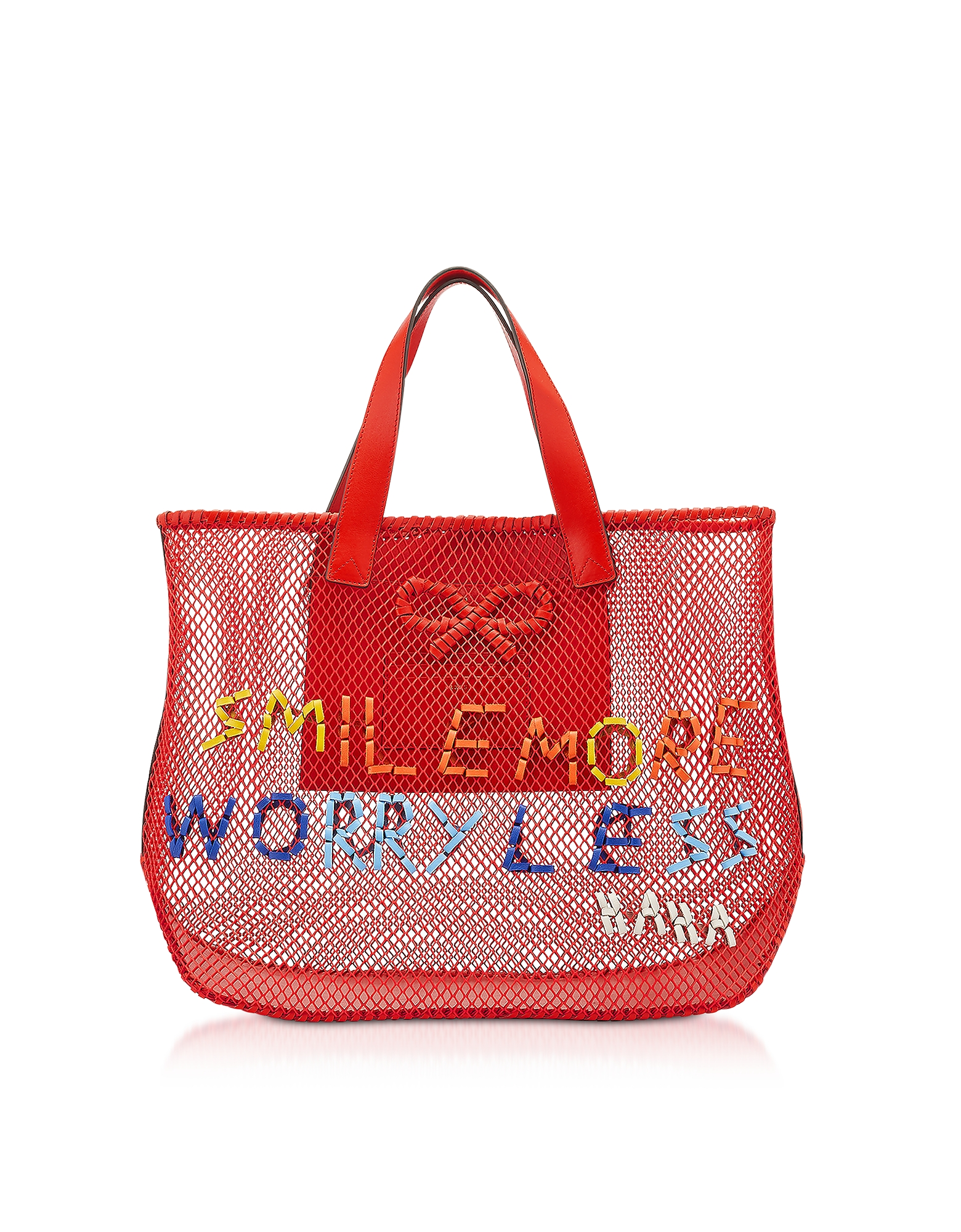 Red Weaving Mesh Smile More N/S Weave Tote