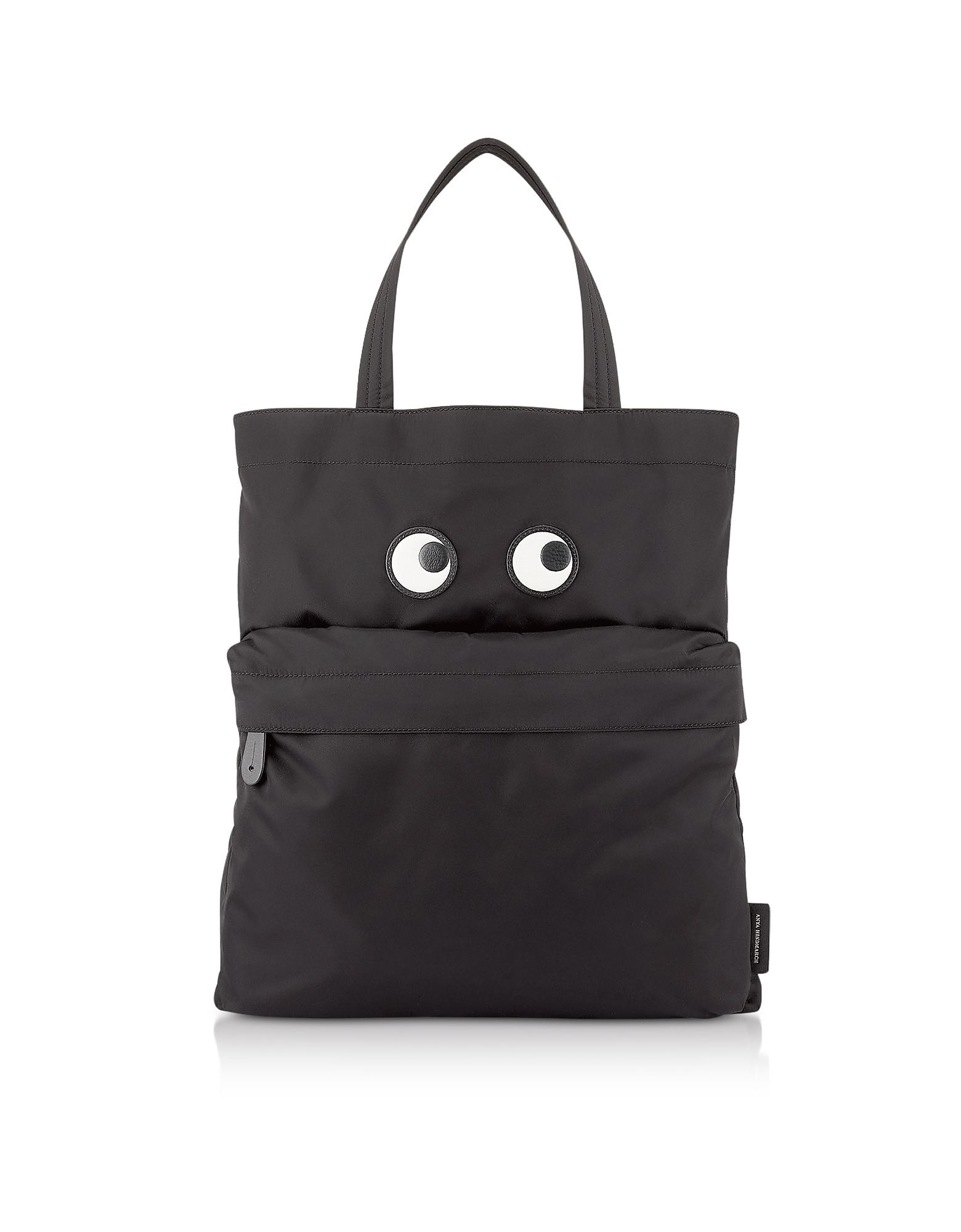Black Nylon Eye Tote Bag