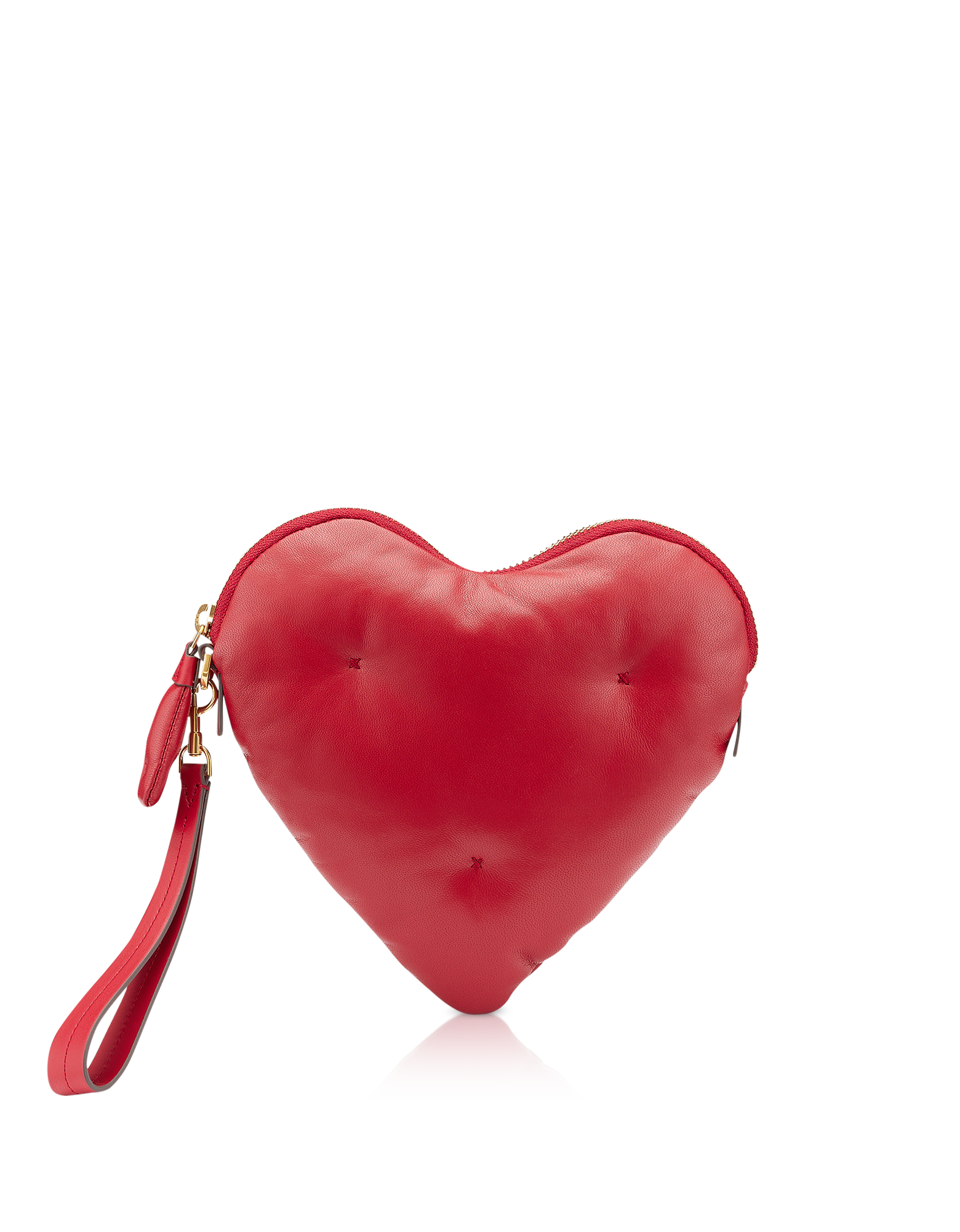 Image of Red Nappa Leather Heart Chubby Clutch