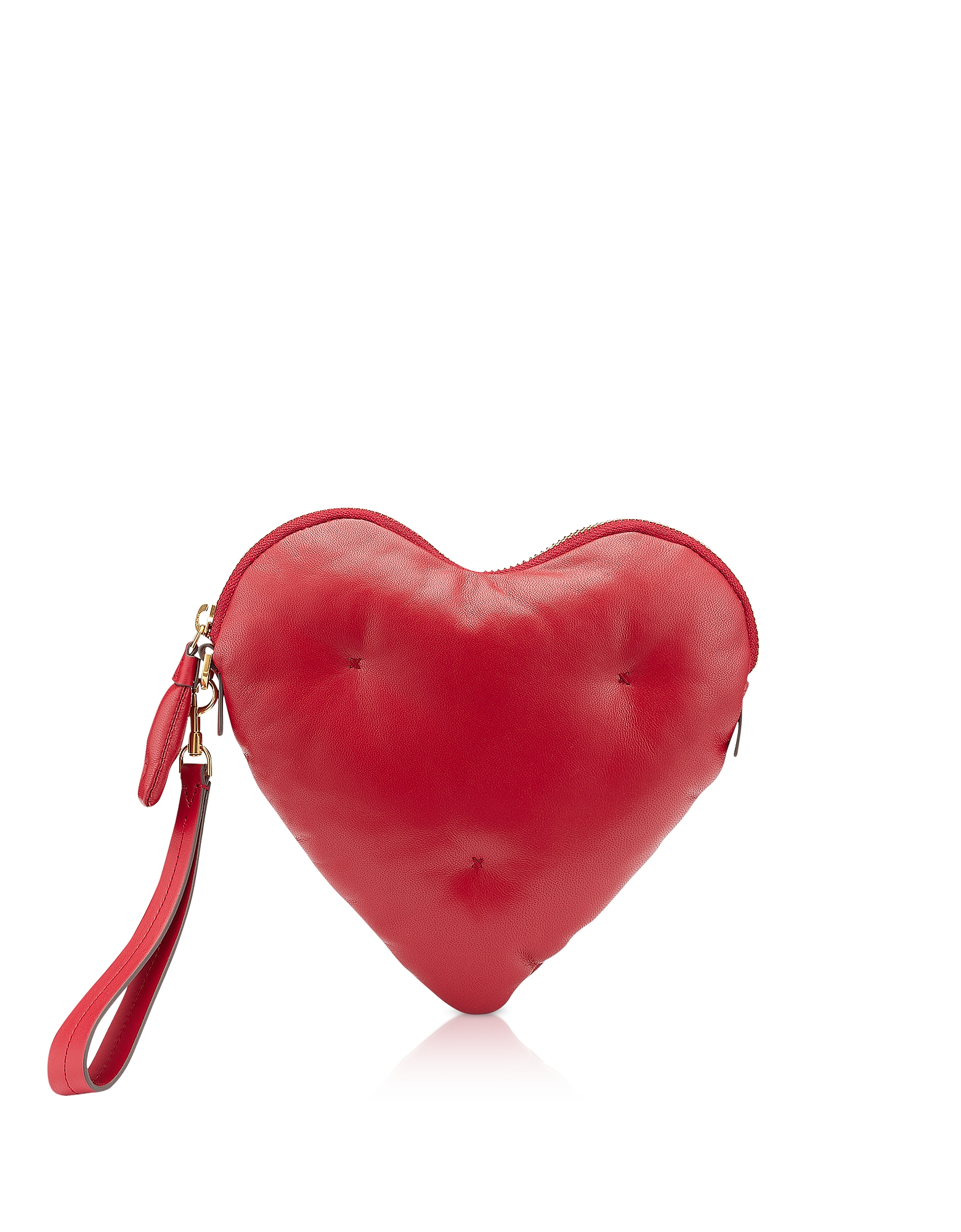 Chubby Heart Clutch in Nappa Rosso Fuoco