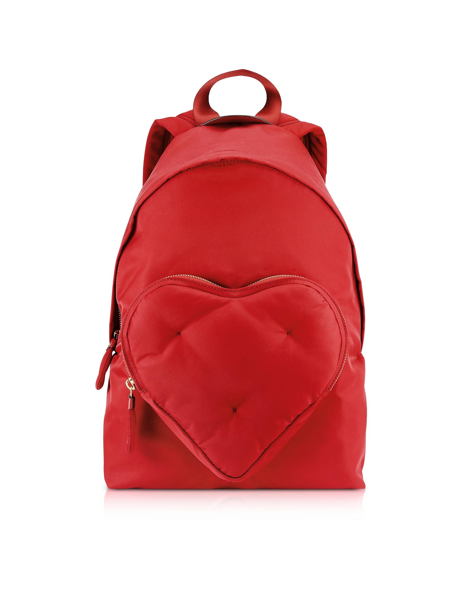 Image of Anya Hindmarch Designer Handbags, Red Nylon Chubby Heart Backpack