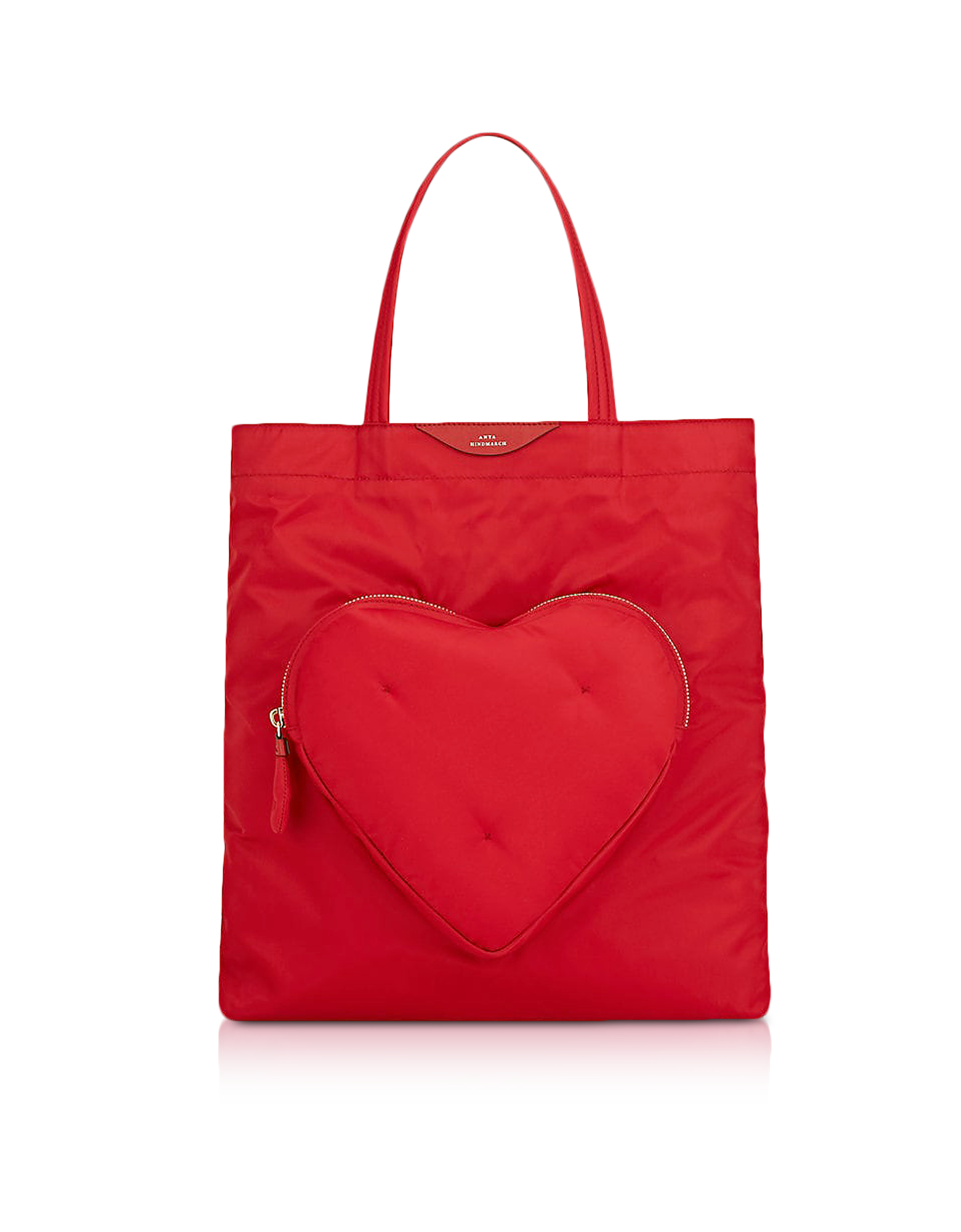 Image of Red Nylon Chubby Heart Tote Bag