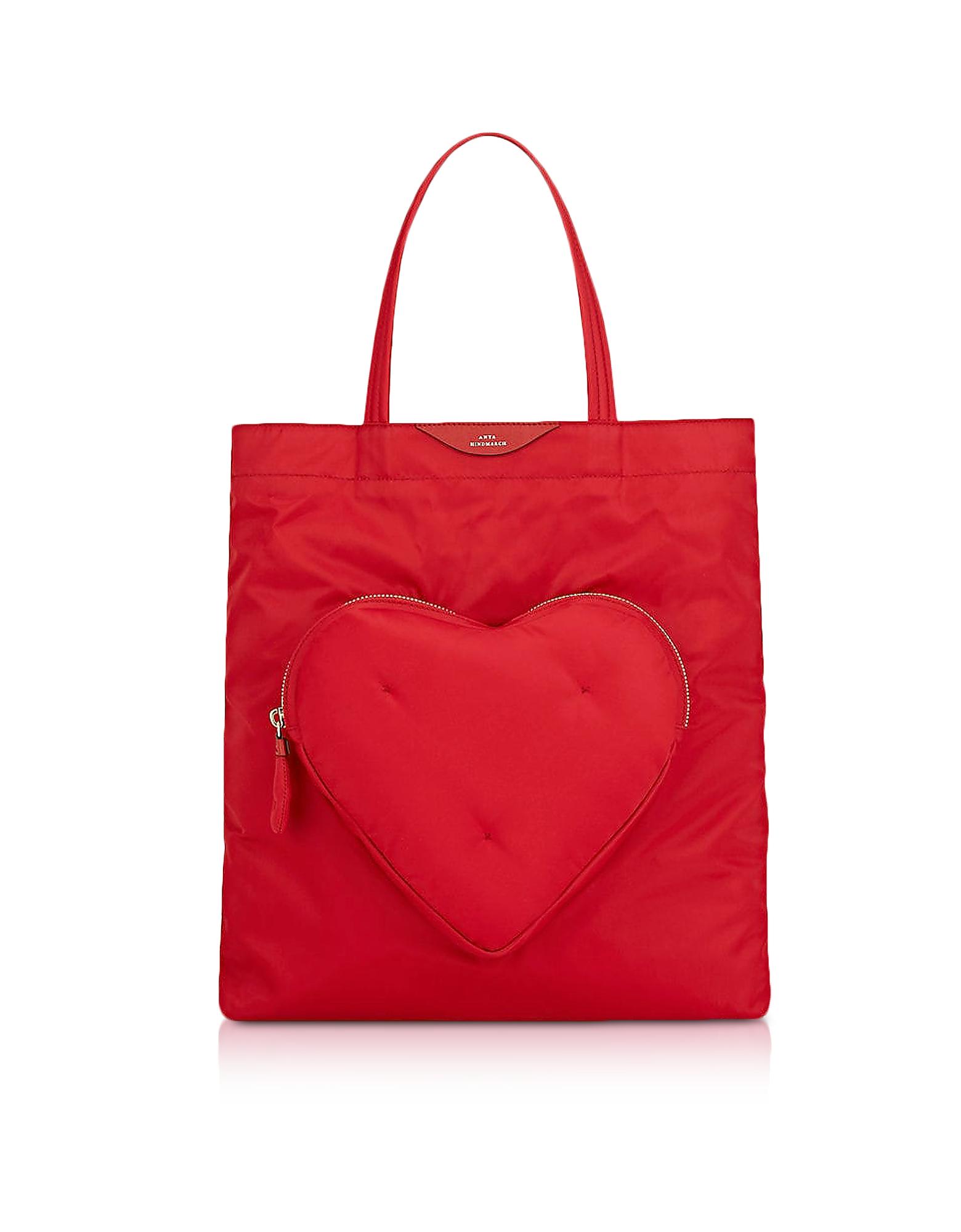 Image of Anya Hindmarch Designer Handbags, Red Nylon Chubby Heart Tote Bag
