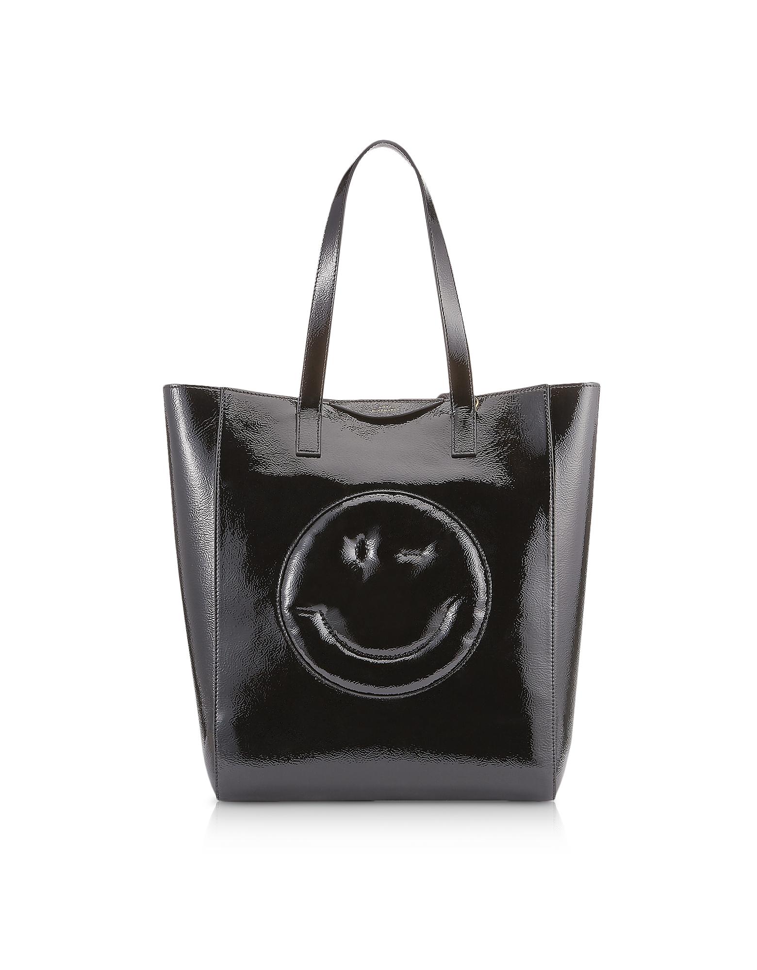 Image of Anya Hindmarch Designer Handbags, Black Naplak Chubby Wink Tote Bag