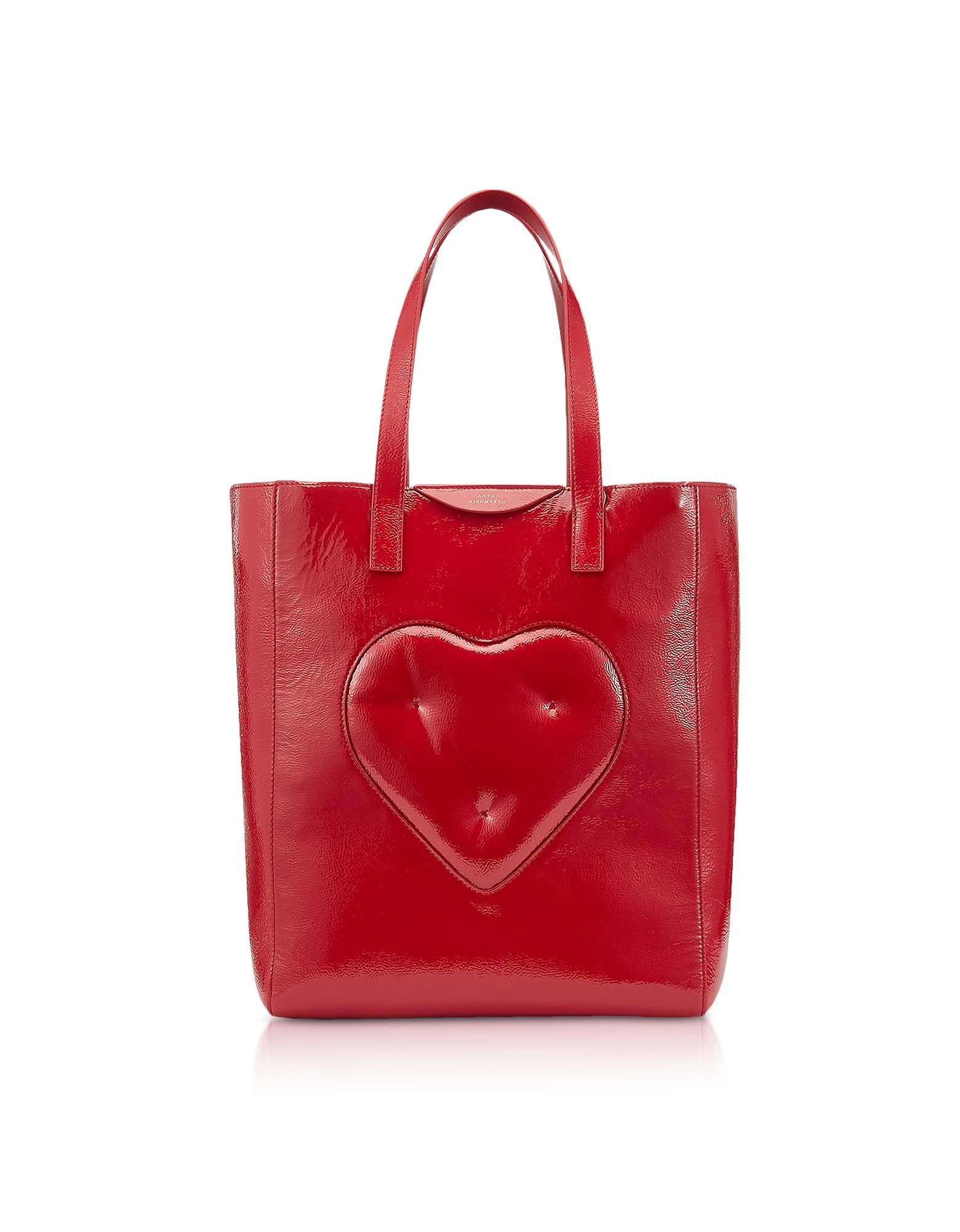 Image of Anya Hindmarch Designer Handbags, Dark Red Naplak Chubby Heart Tote Bag