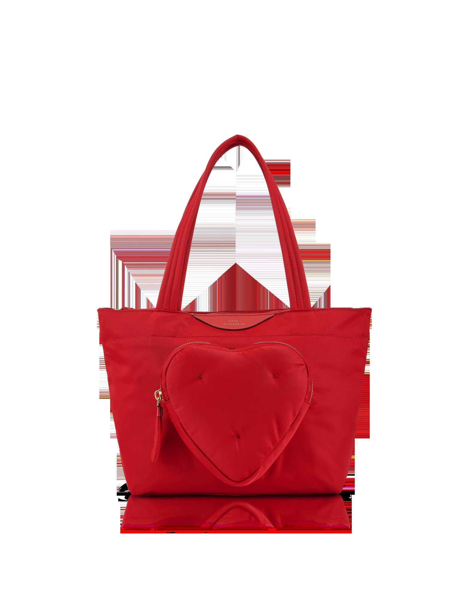 Image of Red Nylon Mini Chubby Heart E/W Tote Bag