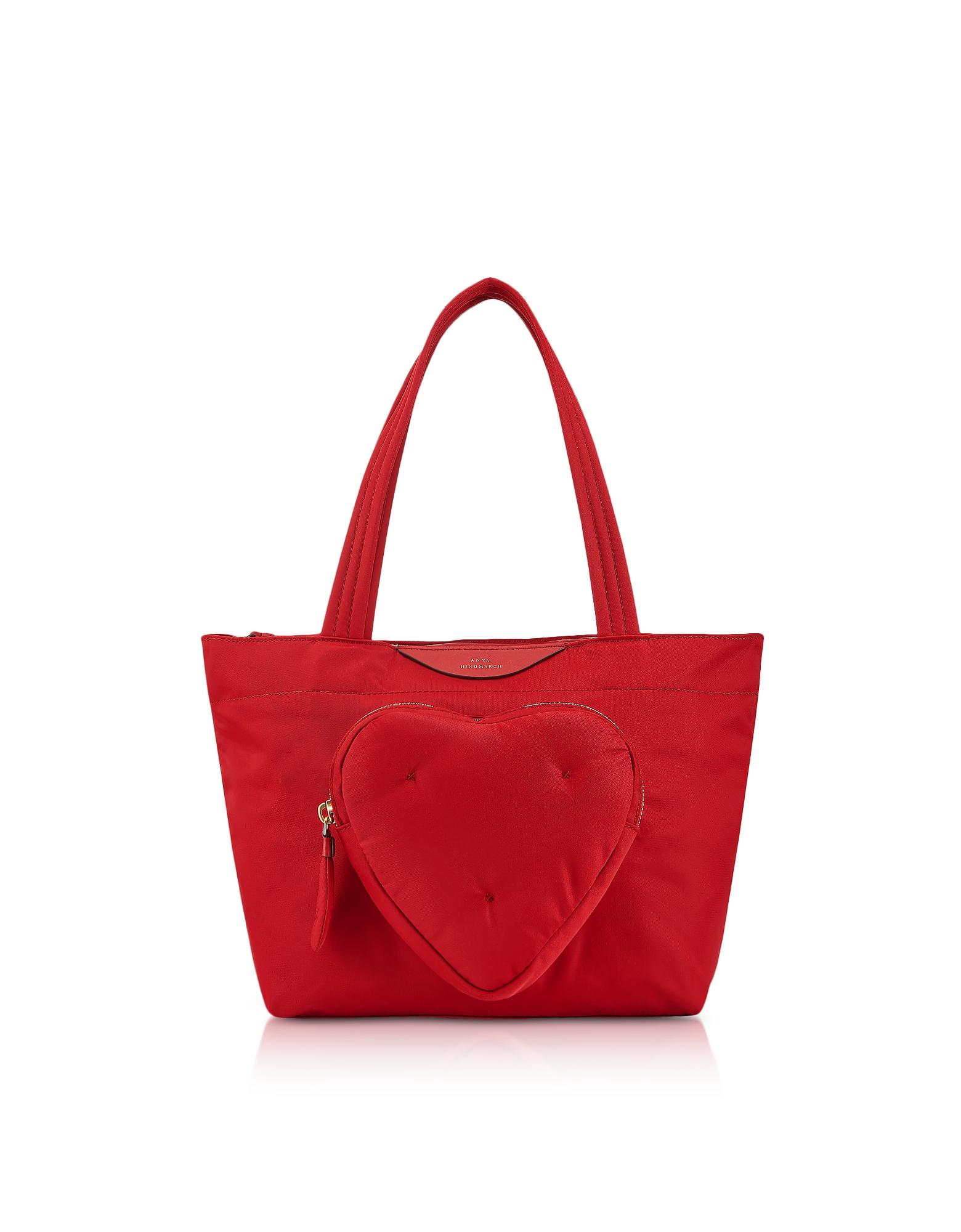 Image of Anya Hindmarch Designer Handbags, Red Nylon Mini Chubby Heart E/W Tote Bag