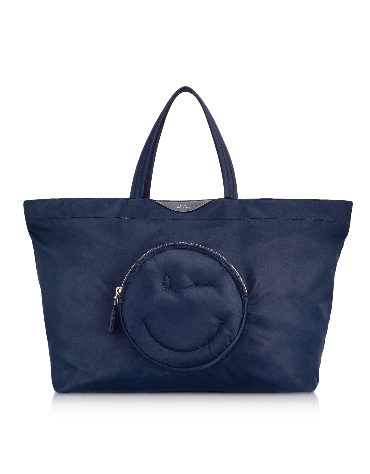 Image of Navy Blue Nylon Large Chubby Smiley E/W Tote Bag