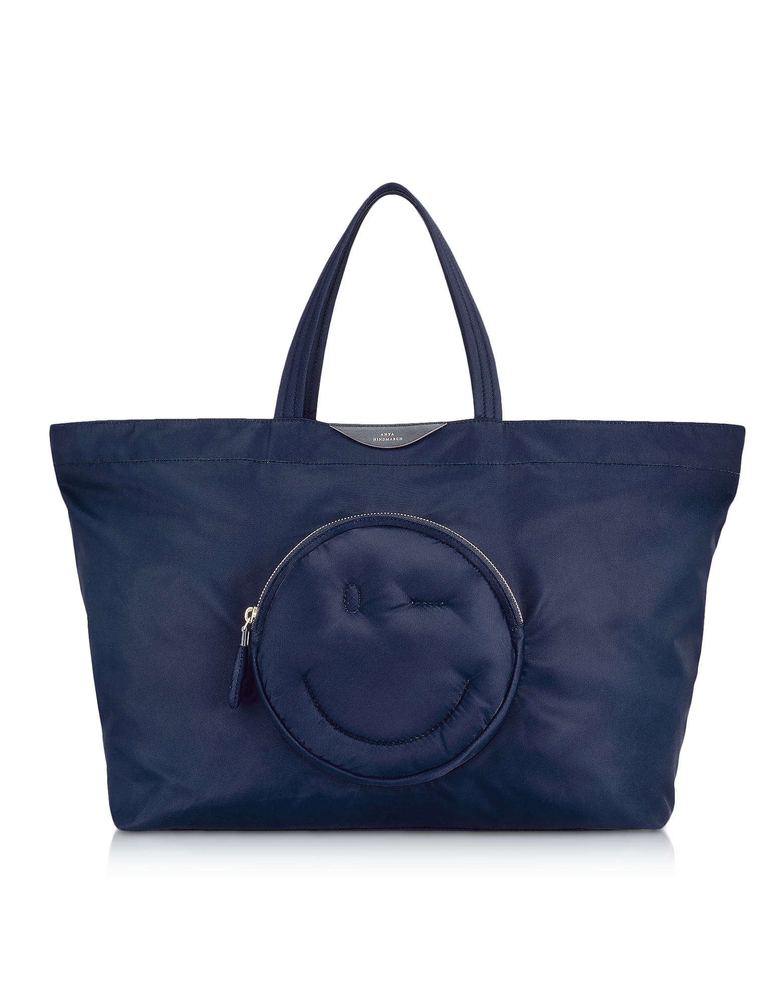 Image of Anya Hindmarch Designer Handbags, Navy Blue Nylon Large Chubby Smiley E/W Tote Bag