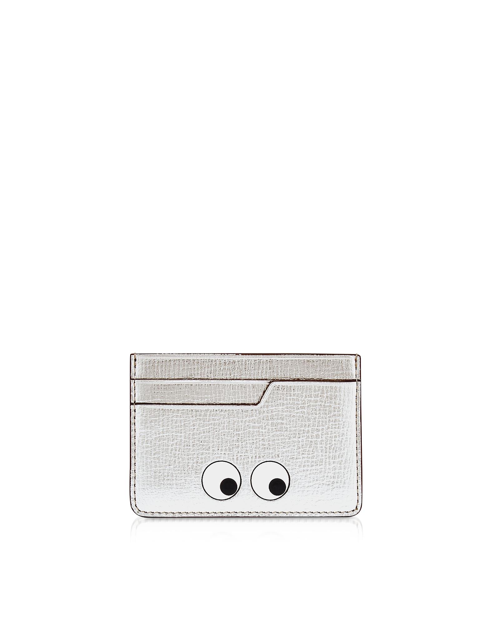 Серебристый Бумажник для Карт с Глазами Anya Hindmarch