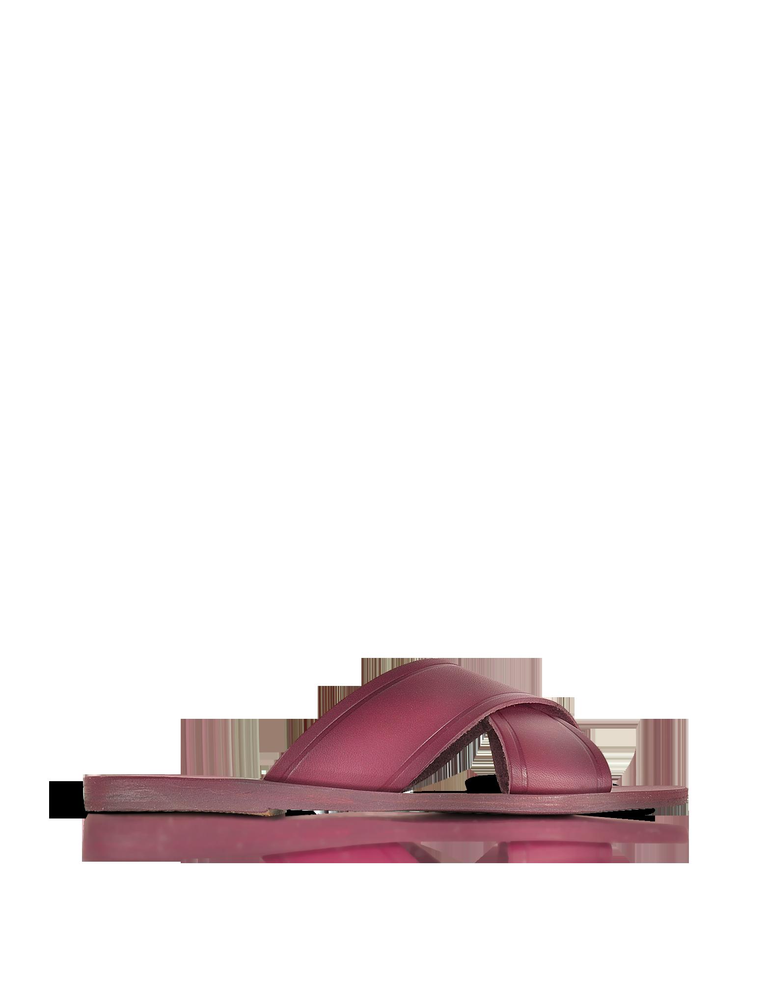 Image of Thais Raspberry Leather Slide