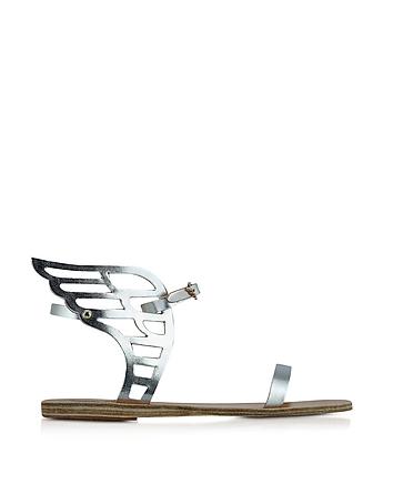Ancient Greek Sandals Ikaria - Sandales Ailées en Cuir Argent Métallisé