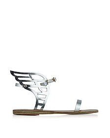 Ikaria Lace Silver Leather Flat Sandal - Ancient Greek Sandals