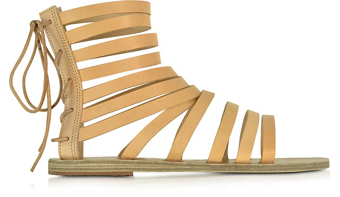 Galatia Natural Leather Flat Sandal - Ancient Greek Sandals