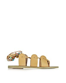 Amaryllis Stones Natural Leather Sandal w/Multicolor Beads - Ancient Greek Sandals