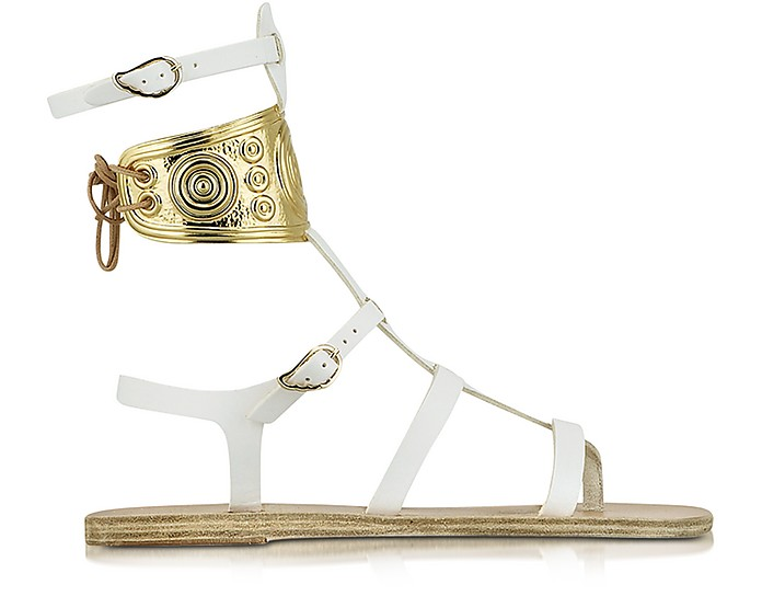 Ancient Greek Sandals with LALAoUNIS Rhodes White Leather Sandals - Ancient Greek Sandals