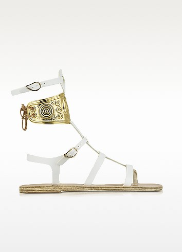 Ancient Greek Sandale mit LALAoUNIS aus weißem Leder - Ancient Greek Sandals