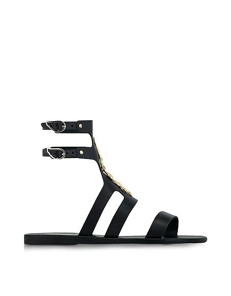 Ancient Greek Sandals LALAoUNIS Agapi Sandalo in Pelle Nera con Fibbie