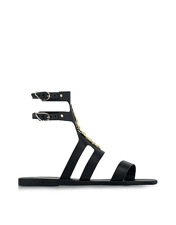 Ancient Greek Sandals with LALAoUNIS Agapi Snakes Black Leather Sandal